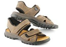 Sandálias das sapatas do homem de Brown com prendedor de Velcro fotografia de stock royalty free