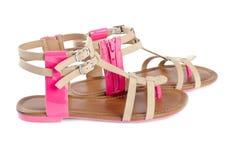 Sandálias de couro da mulher Imagens de Stock Royalty Free