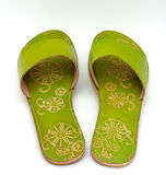 Sandálias verdes da senhora Imagem de Stock Royalty Free