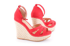 Sandálias vermelhas Fotos de Stock Royalty Free