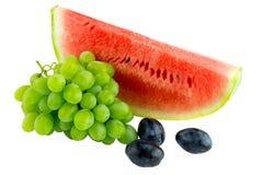 Sandía, ciruelo y uvas Imagen de archivo libre de regalías