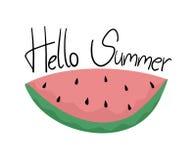 Sandía con hola el mensaje del verano Imagenes de archivo