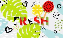 Sandía de moda del helado del trópico y de la fruta, golpeteo de la piña Foto de archivo libre de regalías