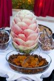 Sandía y nueces dulces turcas Foto de archivo