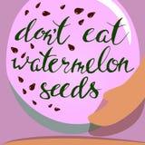 Sandía y semillas del vector deletreado Embarazo Imagen de archivo