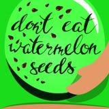 Sandía y semillas del vector deletreado Embarazo Fotografía de archivo