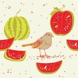 Sandías y pájaro libre illustration