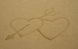 Sand. Rain drop on sand and love, background royalty free stock photos