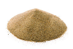 Sand. Pile of dry sand isolated on white stock photo