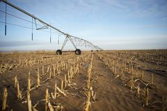Winter irrigator in arid regions. Sand agricultural details.And irrigation equipment Stock Photos