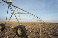 Winter irrigator in arid regions. Sand agricultural details.And irrigation equipment Stock Image