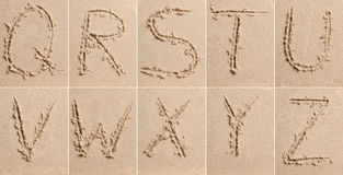 Sand Alphabet stock photos