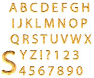 Sand Alphabet. Gold sand alphabet isolated on white background. For more detail see the enlarged letter S stock illustration