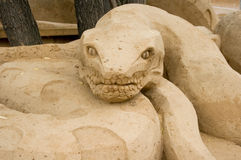 Sand Anaconda. Anaconda, Sand Sculpture Festival in Moscow Stock Images