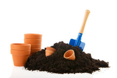 Free Sand And Empty New Pots For The Garden Stock Photos - 18221293