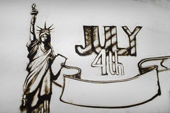 Sand animation for independence day in the United States.  Royalty Free Stock Images