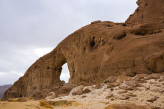 The sand arch in the timna park in Israel. The sand and stone arch in the timna park in Israel Royalty Free Stock Photos