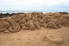 Sand art. Displays on beach Royalty Free Stock Photos