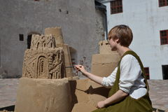 Sand art castle sculpture Turku Royalty Free Stock Image