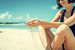 Free Sand As The Time Slips Through Your Fingers. Girl Holding A Sand Sea Background. Concept Of Vacation In Warmer Climes Royalty Free Stock Photography - 91393177