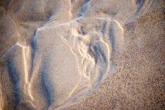 Sand av en strand med modeller royaltyfri bild