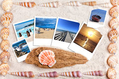 Sand background with instand photos and shells Royalty Free Stock Photo