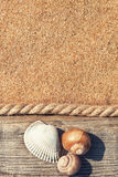 Sand background with old wood, seashells and rope Royalty Free Stock Image