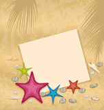 Sand background with paper card, starfishes, pebbl Stock Photo
