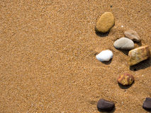 Sand background. Sand shell & stone on background Stock Photography