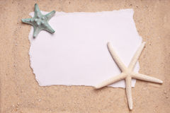 Sand Background with Two Starfish Blank Sign Royalty Free Stock Image