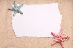 Sand Background with Two Starfish Blank Sign Royalty Free Stock Photography