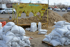 Sand bag loading station ready Stock Images