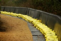 Sand Bags. Stacked against retaining wall ready for flood waters stock image