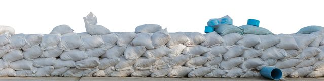 Sand bags stacked isolated on white background, clipping path.  royalty free stock photos