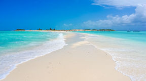 Sand bank in a Caribbean beach Stock Photos