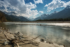 Sand bank and stony river at lech Stock Image