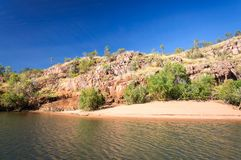 Croc traces on the sand bank at Katherine River Gorge, Australia Stock Image