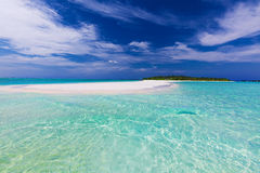Sand bar at the end of tropical island with pristine water Royalty Free Stock Image