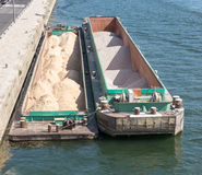 Sand barge in Paris Stock Image