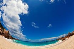 Sand beach. Fisheye view, Seychelles, LaDigue island Stock Image
