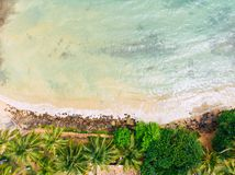 Sand beach aerial, top view of a beautiful sandy beach aerial long shot royalty free stock images