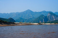 Sand beach along Mekong Stock Photos