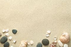 Sand, Beach Background with Shells and Stones royalty free stock images