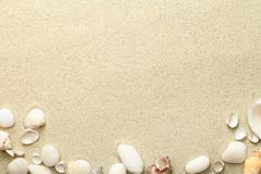 Sand, Beach Background with Shells and Stones royalty free stock photos