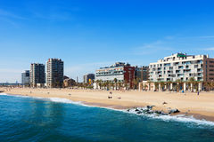 Sand beach Badalona in winter Royalty Free Stock Photos