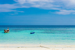 Sand and beach with blue sky, Lipe island Royalty Free Stock Photo