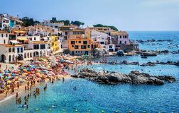Sand beach in Calella de Palafrugell, a popular resort town Stock Images