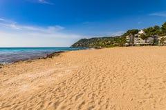 Sand beach of Canyamel, beautiful seaside of Mallorca. Majorca beach of Canyamel bay, beautiful seaside, Spain Balearic islands Royalty Free Stock Photo
