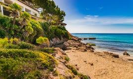 Majorca Spain, seaside landscape of Canyamel beach. Sand beach in Canyamel, coastline Mallorca island, Spain Mediterranean Sea Royalty Free Stock Image