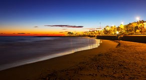 Sand beach in early morning. Sitges Royalty Free Stock Photos